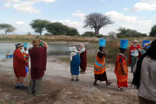 Cutural interaction. Clients gifted maasai water cleaners